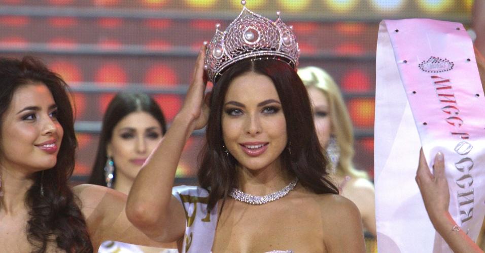 2.mar.2014 - Crise na Ucrânia que nada! Yulia Alipova foi eleita Miss Rússia 2014 em Moscou. A bela de 23 anos, que é de Balakovo, é a 22ª miss de seu país a ser coroada
