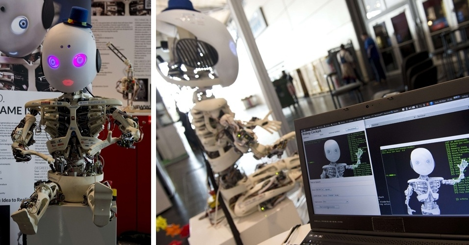10.mar.2014 - Robô humanoide Roboy, desenvolvido pelo Laboratório de Inteligência Artificial da Universidade de Zurique, é apresentado na Cebit, feira de tecnologia realizada anualmente em Hanover. O Roboy tem aparência de criança e foi criado para ajudar pessoas doentes e idosos