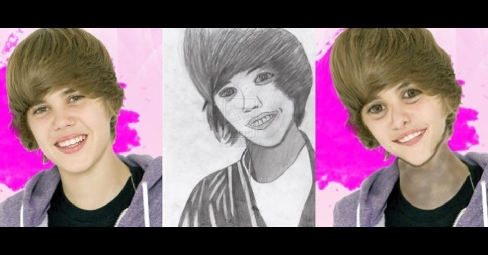 Um usuário do site ''Mashable'' usou o Photoshop para criar um novo Justin Bieber (dir), baseado em desenho de fã do cantor (centro). ?Não foi ruim para minha primeira tentativa?, escreveu o usuário Jay Hathaway, em resposta às transformações feitas por @JamieDMJ