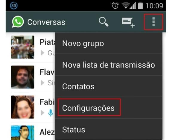 Tutorial whatsapp. Clique nos três pontinhos (canto superior direito) e vá a 'Configurações' > 'Informações da conta' > 'Privacidade'.