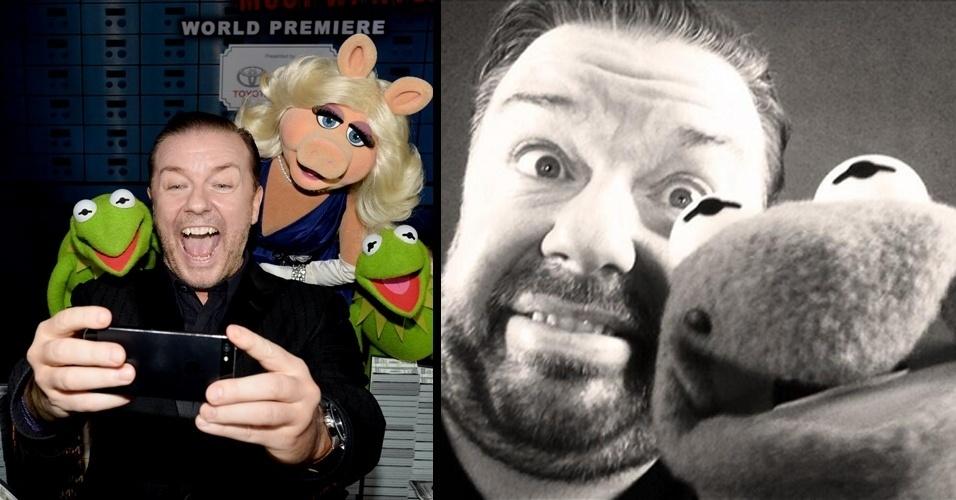 """Criador da série """"The Office"""", o comediante britânico Ricky Gervais aparece tirando um selfie com personagens do filme ''Muppets 2: Procurados e Amados'', na estreia do longa em Los Angeles (EUA). Na foto à dir., um outro selfie tirado por Gervais com Caco e divulgado pelo comediante em seu Twitter um dia antes"""