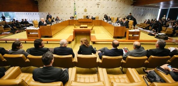 Ministros do STF no plenário da corte suprema durante julgamento do Mensalão: lei para a Copa chega ao Mundial intacta