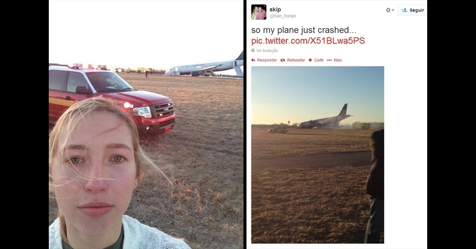 13.mar.2014 - Uma passageira do voo 1702 da U.S Airways postou uma foto no Twitter pela conta @han_horan pouco depois do avião em que estava sofrer um acidente. A aeronave partia do aeroporto de Filadélfia, nos Estados Unidos, quando foi forçado a abortar a decolagem e aterrissou de bico na pista. Segundo o ''New York Daily News'', ninguém ficou ferido. Não há informações sobre as causas da pane