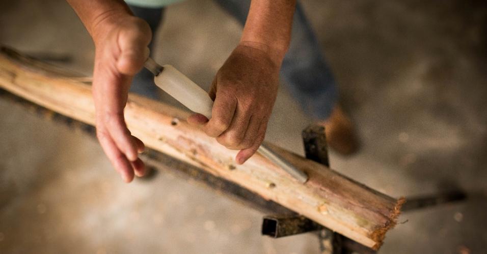 A toras de eucalipto são colocadas em cavaletes para receber as sementes de shiitake para que se inicie a produção do cogumelo. Com um aplicador de plástico, o produto é injetado nos furos feitos nestas toras