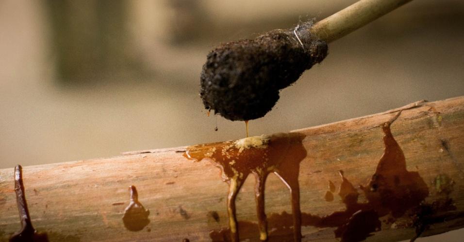 Pronto, o impermeabilizante que vedará os furos é retirado da panela com um pincel feito de bambu com um chumaço de palha de aço na extremidade. Este procedimento tem como finalidade principal evitar o contato da semente com o meio ambiente externo e com água de irrigação