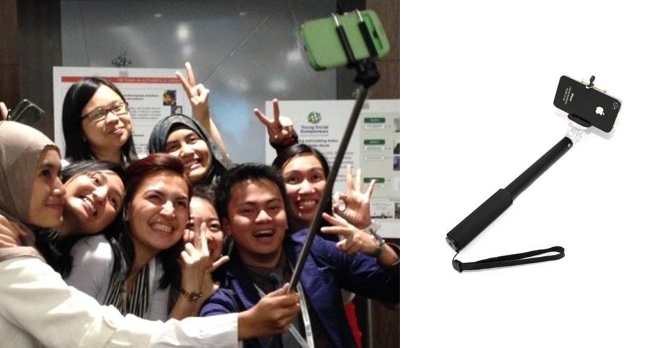 17.mar.2014 - A moda dos 'selfies' já ganhou até um acessório para facilitar a captura dos autorretratos. O 'selfie stick' é como um bastão extensor para quem deseja tirar autorretratos com muitas pessoas ao mesmo tempo. É programar o tempo do disparo automático do smartphone (nem todos os aparelhos têm essa função) e prendê-lo na ponta do bastão. Segundo o 'Huffington Post', o acessório já virou moda entre adolescentes na Ásia. Na Amazon, é possível encontrar modelos como iStabilizer (dir.) por US$ 20,45 (R$ 48,05)