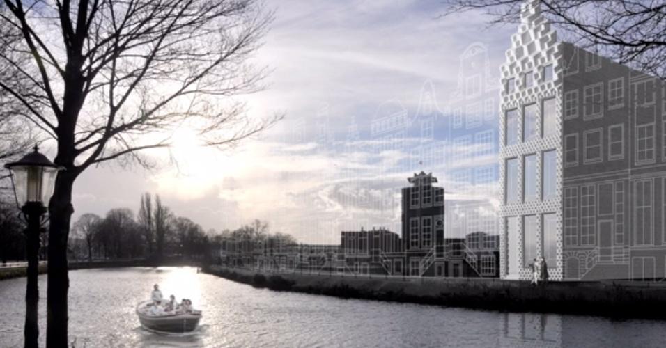 Arquitetos holandeses estão construindo uma casa a partir de peças feitas com uma impressora 3D. O escritório Dus, em Amsterdam, é responsável pelo projeto. A ideia é que as peças possam ser montadas e desmontadas ? tal qual o brinquedo Lego ? para mudar o design da construção. Uma impressora com seis metros de altura é usada no projeto e demora cerca de uma semana para fazer cada peça (no total, a Dus estima que levará três anos para concluir a casa). Elas recebem ainda concreto para ficar mais resistentes. Acima, como será a fachada da casa