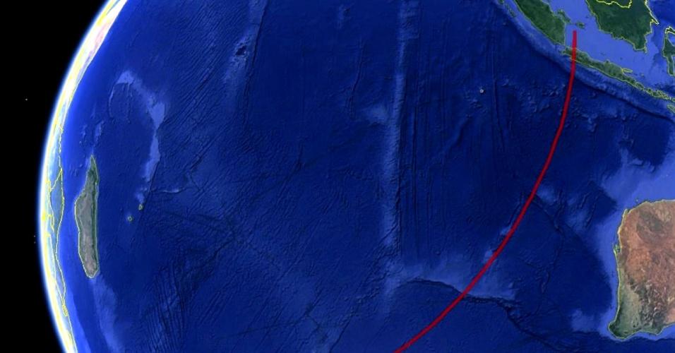 18.mar.2014 - Em imagem de satélite, divulgada nesta terça-feira (18), é traçada a área de busca do voo 370 da Malaysia Airlines, desaparecido com 239 pessoas a bordo desde 8 de março. Segundo o jornal New York Times, a rota do avião pode ter sido alterada pelo computador de bordo, o que exigiria conhecimento técnico do aparelho