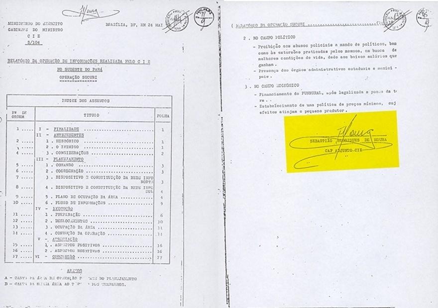 """20.mar.2014 - Relatório do CIE (Centro de Informações do Exército) sobre a segunda operação de desarticulação da Guerrilha do Araguaia, iniciada em abril de 1973. Dado o fracasso da primeira investida, a chamada Operação Papagaio, a Operação Sucuri foi antes de tudo uma operação de inteligência, em que militares se infiltraram, disfarçados, na região para obter informações sobre os integrantes do movimento. Dentre eles, estava o capitão Sebastião Rodrigues de Moura, que assina o documento, que se estabeleceu em Xambioá (TO) como um falso agrônomo no Incra, com nome de dr. Luchini. Na foto, a primeira e última página do documento, que faz parte do acervo """"Arquivos da Ditadura"""", que concentra esse e outros documentos do período da ditadura militar reunidos pelo jornalista Elio Gaspari"""