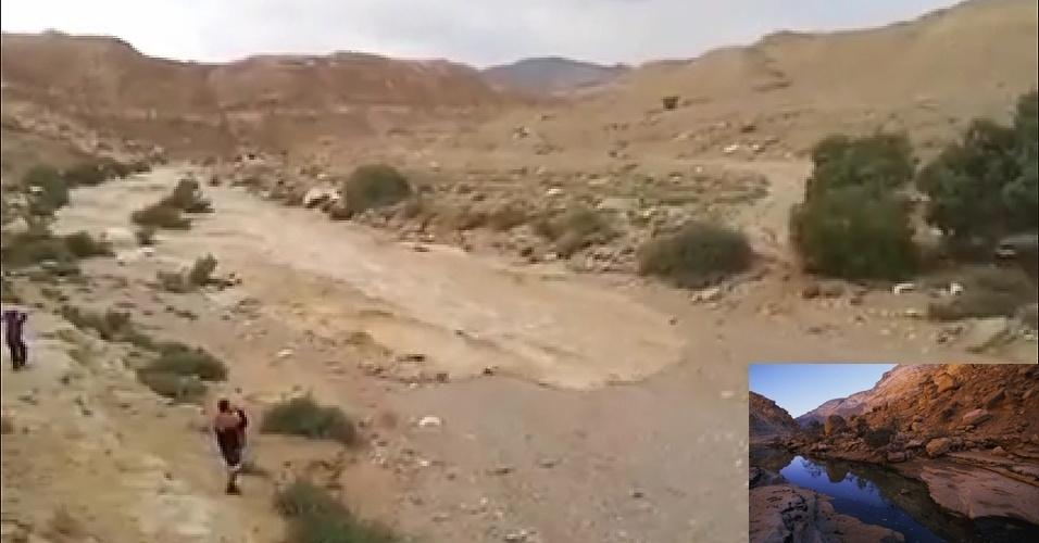 Março - O rio Zin voltou a ter água após anos de seca no deserto de Negev, em Israel. Em vídeo publicado na internet é possível ver o momento em que a água correu pela calha seca do rio e foi acompanhada por locais.  Chuvas em montanhas distantes do deserto seriam responsáveis pelo renascimento do rio, que ocorre poucas vezes ao longo da história. No detalhe, uma imagem do rio cheio. Veja, em inglês, o vídeo