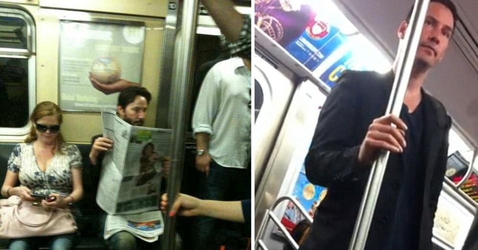 O ator Keanu Reeves é visto com frequência viajando no metrô da cidade de Nova York, nos Estados Unidos