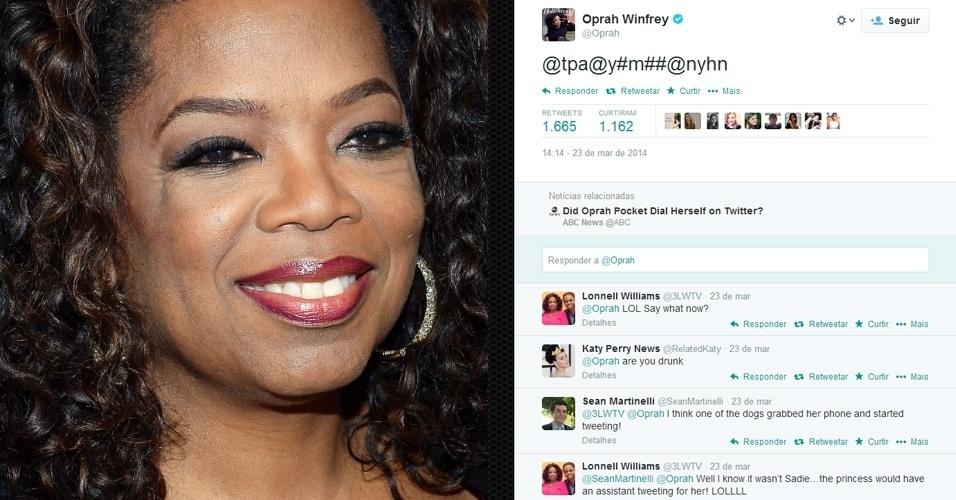 24.mar.2014 - A apresentadora norte-americana Oprah Winfrey se desculpou com seus 23,6 milhões de seguidores no Twitter por tuitar algo ininteligível : ?@tpa@y#m##@nyhn?. A mensagem foi enviada sem querer quando ela pôs o celular com a tela destravada no bolso. ?Ok, parece que meu bolso enviou tuitou por mim há duas horas. Nem sabia que isso era possível. Desculpem-me?, tuitou na sequência