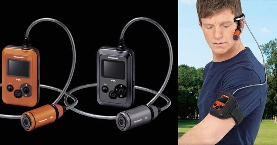 24.mar.2014 - A Panasonic vai lançar no mercado norte-americano a HX-A500, uma câmera vestível à prova de poeira e de água (até 30 metros). Com aspecto excêntrico, ela é uma câmera indicada para vídeos de ação como de esportes radicais e grava imagens em ultradefinição 4k a 25 fps (quadros por segundo). O modelo será vendido a partir de junho por US$ 620 (R$ 1.439)