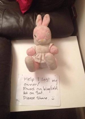 24.mar.2014 - Este fofo coelho rosa foi encontrado na Wingfield Road, em Warwickshire, Inglaterra