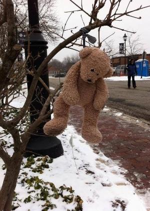 24.mar.2014 -  Este ursinho de pelúcia foi deixado para fora no frio, então uma família o levou para dentro de casa e publicou sua foto na página do Facebook para ver se seu dono aparece