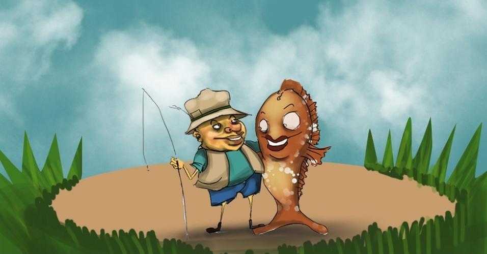 Ilustração - histórias de pescador