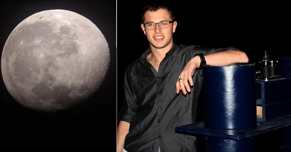 25.mar.2014 - Luke Gruenert (direita) afirmou ter registrado a foto da Lua acima com seu smartphone HTC One. O que teria dado a nitidez necessária, no entanto, foi uma super-lente (à direita) que ele disse ter construído sozinho. Em entrevista ao site 'CNET', Gruenert contou que gastou cerca de 700 horas entre planejamento e construção das lentes. A história foi divulgada no fórum de compartilhamento 'Reddit'
