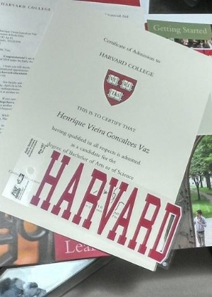 Carta de aceitação de Harvard - Arquivo pessoal