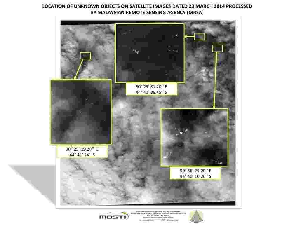 26.mar.2014 - Novas imagens de satélite revelam a presença de 122 objetos flutuando em uma zona de 400 quilômetros quadrados em uma das áreas de busca do sul do oceano Índico, onde o voo MH370 pode ter caído - Reuters