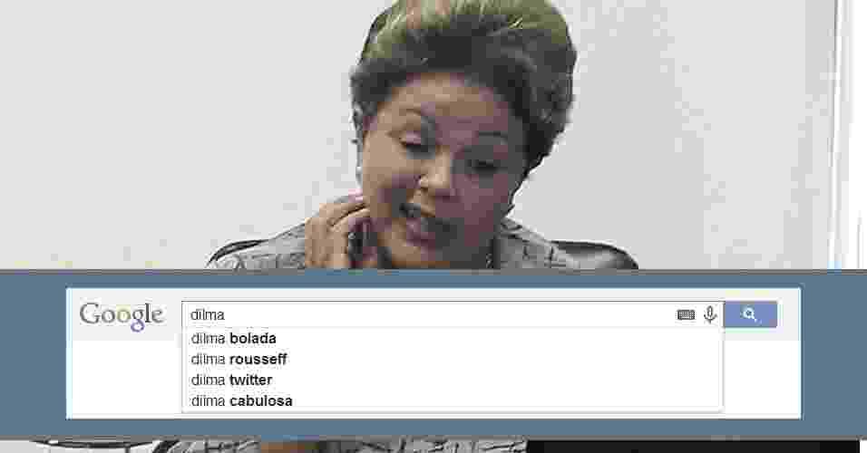 """27.mar.2014 - Ao digitar o nome da presidente Dilma Rousseff, pré-candidata à Presidência pelo PT, no campo de buscas do Google, aparecem os termos """"bolada"""", """"rousseff"""", """"twitter"""" e """"cabulosa"""" - Sérgio Lima/Folhapress / Arte UOL"""