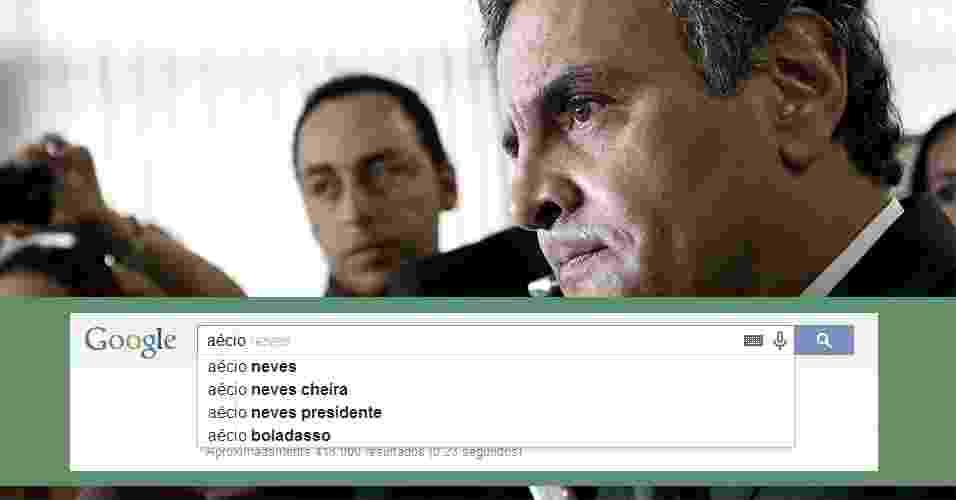 """27.mar.2014 - Ao digitar o nome de Aécio Neves, pré-candidato à Presidência pelo PSDB, no campo de buscas do Google, aparecem os termos """"cheira"""", """"presidente"""" e """"boladasso"""" - Pedro Ladeira/Folhapress / Arte UOL"""