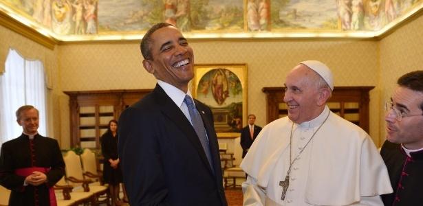 Barack Obama se reúne com o papa Francisco, no Vaticano, em março deste ano - Gabriel Boyus/AFP