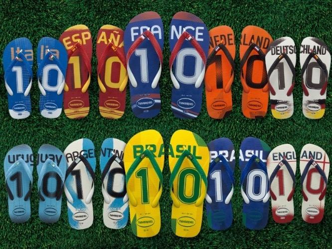 A Havaianas lançou uma coleção de sandálias com as cores das bandeiras do Brasil e de outros 43 países como Argentina, Holanda, Espanha e França, que competem na Copa do Mundo. Preços: de R$ 21,90 a R$ 29,90 cada