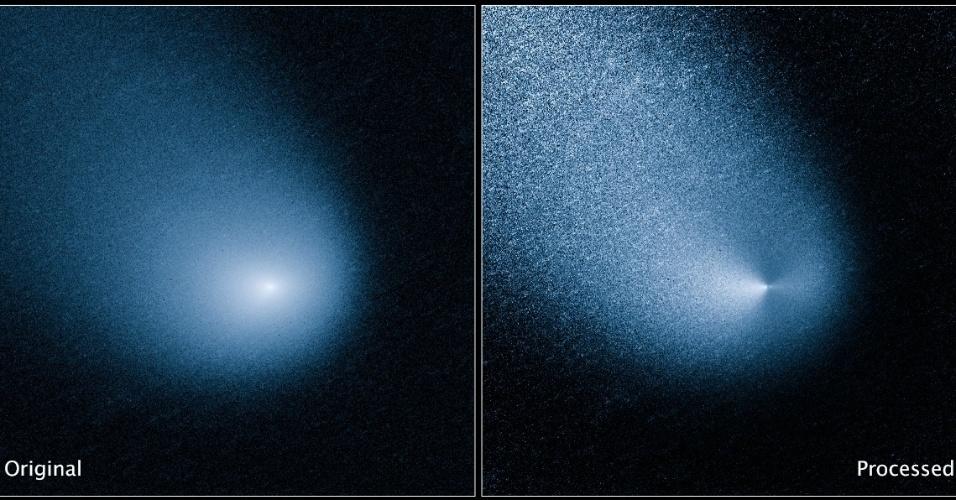 COMETA PASSARÁ PERTO DE MARTE- Um cometa passará raspando Marte em 19 de outubro de 2014, a menos da metade da distância entre a Terra e a Lua. A imagem acima mostra o cometa C/2013 A1 antes e depois de ter sua imagem tratada pelo telescópio Hubble