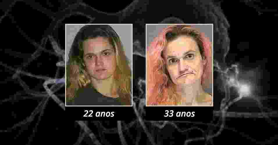 Linda foi presa a primeira vez quando tinha apenas 22 anos. Desde então, ela foi presa outras cinco vezes por vários delitos, inclusive crimes relacionados a drogas - Reprodução Site Rehabs.com/Arte UOL