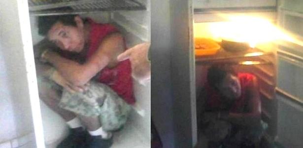 Amilton Ferreira Boavas, 21, escondido dentro da geladeira; ele havia fugido na madrugada de terça-feira do Instituto Penal de Ijuí (RS) - Divulgação