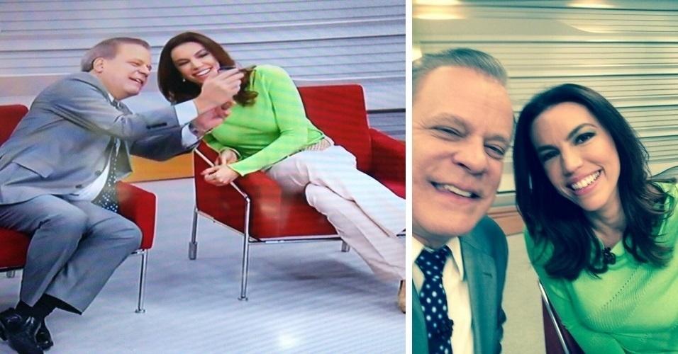 28.mar.2014 - Depois uma reportagem sobre selfies, os apresentadores Chico Pinheiro e Ana Paula Araújo encerraram o 'Bom Dia Brasil' com um autorretrato. 'Pronto, um selfie da gente', falou Ana após o clique. A imagem registrada foi colocada no Twitter da apresentadora (@anapaulaaraujo)