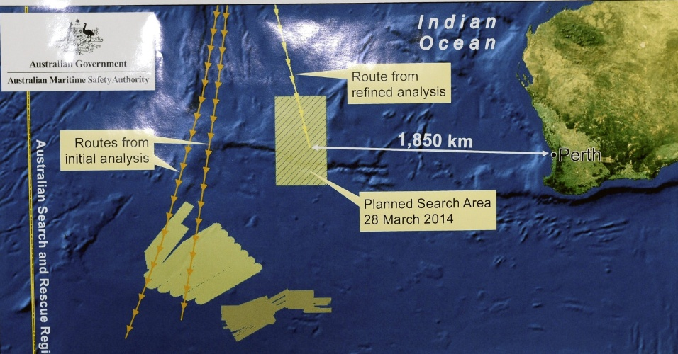 28.mar.2014 - Mapa da Autoridade Marítima Australiana mostra uma nova área de buscas do voo MH370 no Oceano Índico