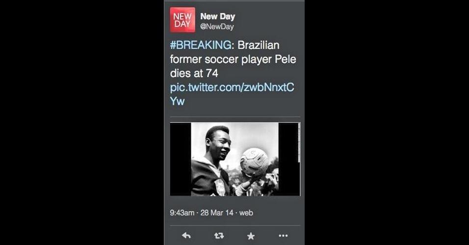 28.mar.2014 - O canal CNN deu um susto nos torcedores brasileiros . Através do perfil do programa New Day no Twitter, a emissora noticiou erroneamente a morte de Pelé. ''Ex-jogador de futebol brasileiro, Pelé morre aos 74 anos'', afirmou a emissora. Pouco depois, porém, o canal apagou a postagem e se retratou pelo erro