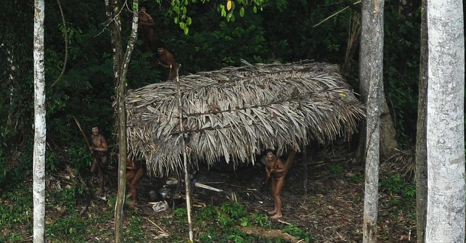 28.mar.2014- Índios que nunca tiveram contato com o mundo externo veem um avião que sobrevoa sua comunidade na Amazônia, perto do rio Xinane, no Acre, perto da fronteira com o Peru. Os líderes da tribo Ashaninka, que divide o território com esta tribo e outras que também são isoladas, pediram ajuda ao governo e a ONGs para controlar o que eles consideram ser uma invasão por essas tribos de suas terras. O movimento das tribos seria pressionado pela exploração madeireira ilegal na fronteira com o Peru. As fotos foram feitas em 25 de março de 2014