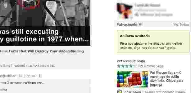 Facebook ocultará o anúncio e não mostrará mais conteúdo da marca - Reprodução - Reprodução