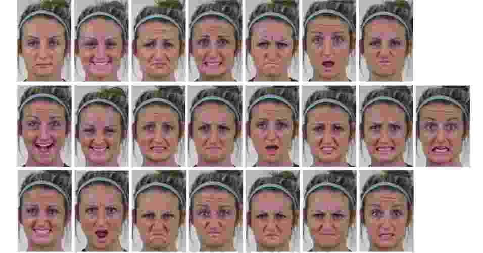 1.abr.2014 - Cientistas da Universidade Estadual de Ohio, nos Estados Unidos, programaram computadores para reconhecer 21 expressões faciais diferentes e complexas. Até o momento, os cientistas cognitivos limitaram seus estudos para o segmento de emoções básicas: feliz, triste, amedrontado, enojado, surpreso e desapontado. Agora, eles combinaram essas emoções com faces para felizmente enojado ou tristemente amedrontado, por exemplo - Universidade de Ohio/Pnas