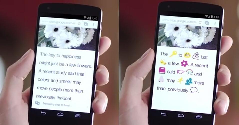 2014 - A ferramenta Google Translate ganhou, no dia da mentira, um falso tradutor para emojis (emoticons usados nas mensagens de texto via celular). Segundo o material institucional (http://zip.net/bgmY6m), a novidade estará disponível no navegador Chrome para Android e iOS. ''Agora você pode ler seu conteúdo favorito na web usando ilustrações eficazes e cheias de emoção, no lugar de textos difíceis'', diz a empresa
