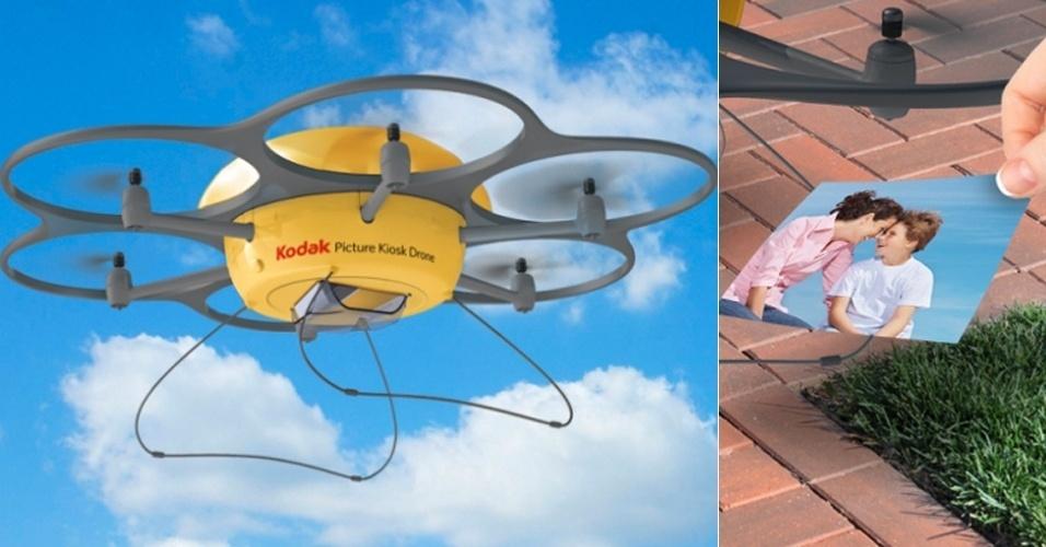 2014 - A Kodak anunciou no dia da mentira um drone que imprime fotos e as leva para o usuário (http://zip.net/bqmZyB). O pedido pode ser feito via telefone, mensagem de texto ou aplicativo. Há ainda outra alternativa: ''Tente nosso serviço na nuvem. Tudo o que você precisa fazer é olhar para o céu e, quando vir um de nossos drones voando, suba no telhado de sua casa, acene as mãos freneticamente e suas fotos ficarão prontas em minutos''