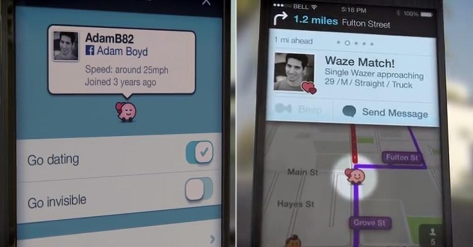 2014 - Comprada pelo Google, a ferramenta de trânsito Waze entrou na brincadeira no dia da mentira. O WazeDate permite que o usuário procure (e talvez encontre) um amor enquanto dirige. O vídeo de divulgação (http://zip.net/bdmZbf) explica: basta habilitar o recurso para encontros (esq), para que outros usuários solteiros vejam o que você procura e façam contato