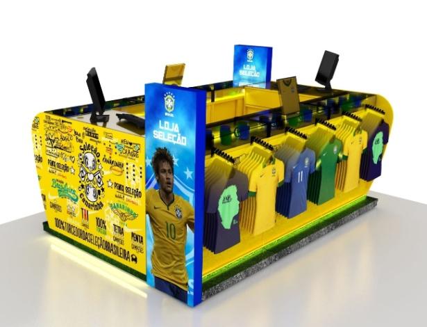 Imagem mostra projeto de loja oficial da seleção brasileira, desenvolvido pela Nike em parceria com a empresa SPR SPorts