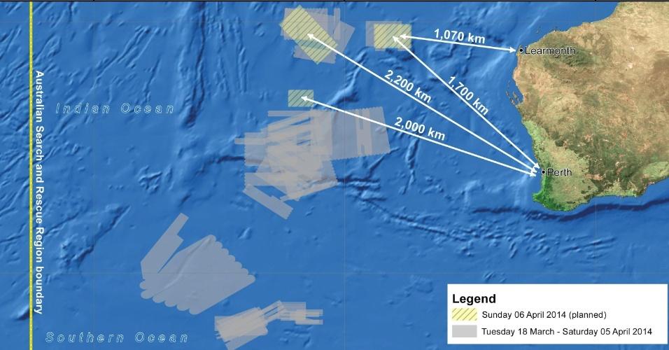 6.abr.2014 - Autoridades australianas planejam fazer buscas por indícios do voo desaparecido da Malaysia Airlines em três áreas do oceano Índico (identificadas em amarelo). As marcações em cinza indicam áreas onde já foram realizadas buscas