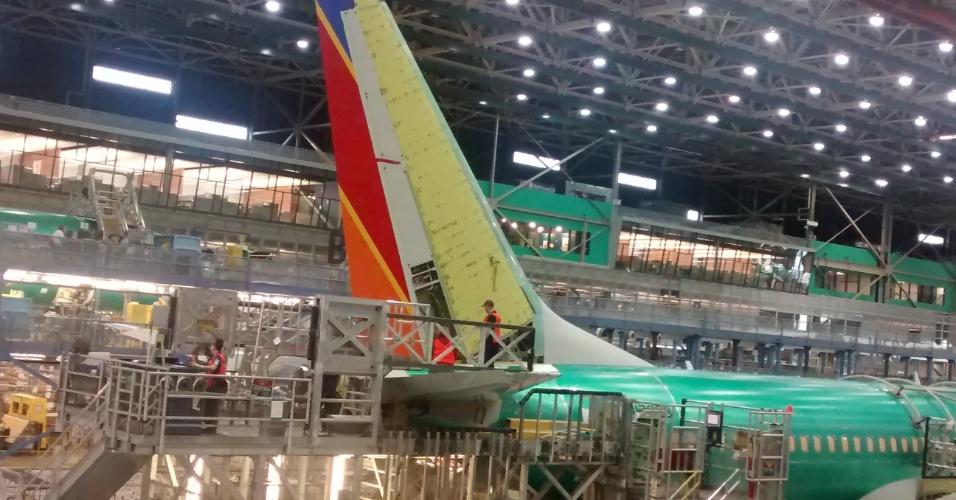 Linha de montagem do Boeing 737-800 na fábrica de Renton (região metropolitana de Seattle, EUA)