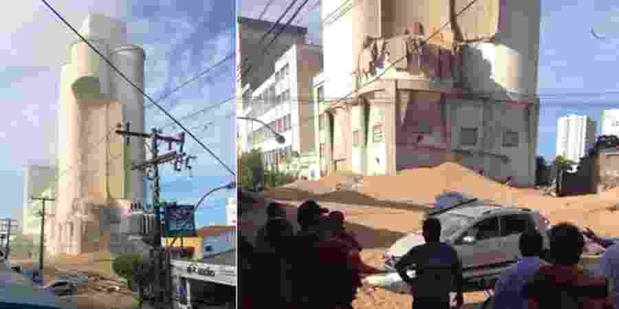 7.abr.2014 - Torre de empresa desaba e deixa  soterrados em Alagoas - Reprodução/TNH1
