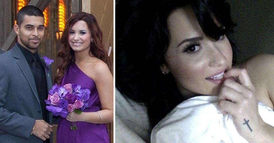 Segundo o ''Daily Mail'', a cantora Demi Lovato (dir.), 21, teve fotos íntimas tiradas com o namorado Wilmer Valderrama vazadas na internet. Em algumas fotos, Demi aparece abraçada a Valderrama e beijando o namorado; em outras, mostra os seios e nádegas. Embora a veracidade das imagens não tenha sido confirmada pela cantora, uma tatuagem de cruz na mão, igual à dela, pode ser vista. No Twitter, Demi deixou uma mensagem ''enigmática'' após o vazamento: ''Sou forte. Sou lutadora. Não me subestimem''