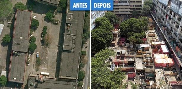 A imagem mostra o terreno abandonado da empresa de telefonia Oi antes (à esquerda) e depois da ocupação (à direita). Cerca de 6.000 famílias se instalaram no local desde o dia 31 de março de 2014
