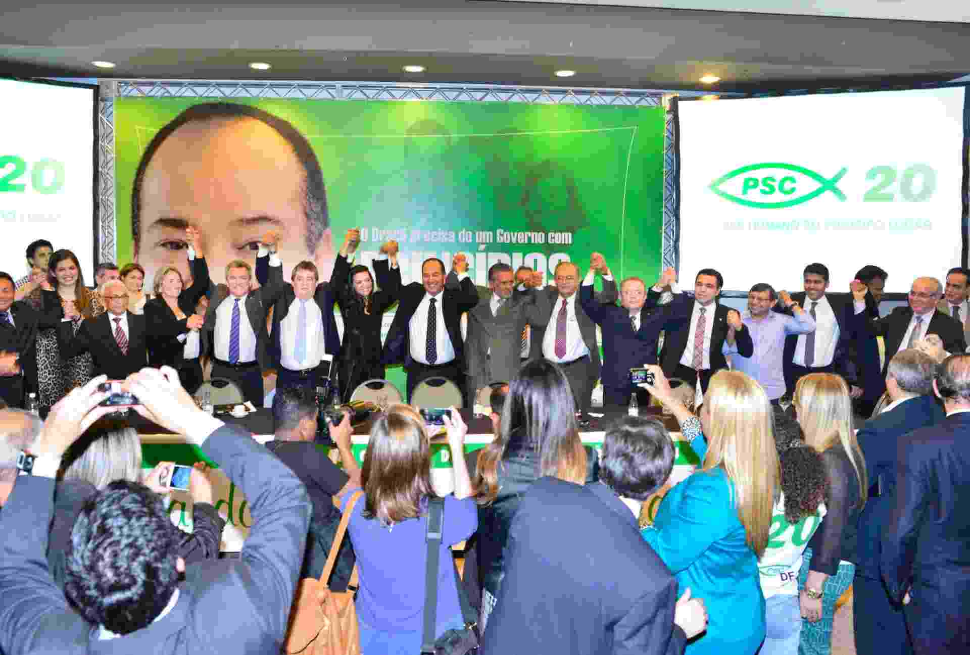 9.abr.2014 - O PSC lançou nesta terça-feira (8), em Brasília, a pré-candidatura do Pastor Everaldo Pereira à Presidência da República - Divulgação