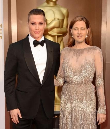"""O site americano """"Buzzfeed"""" resolveu trocar o rosto de celebridades utilizando software editor de imagem. Na foto, o casal de atores Angelina Jolie e Brad Pitt"""