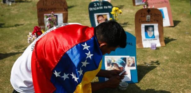 Um ativista antigoverno coloca velas em frente a lápides simbólicas com fotos de vítimas da violência