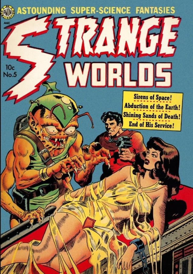 """11.abr.2014 - Em """"Strange Worlds"""", HQ de 1950, os alienígenas estavam mesmo interessados nas moças bonitas que iam para o espaço"""