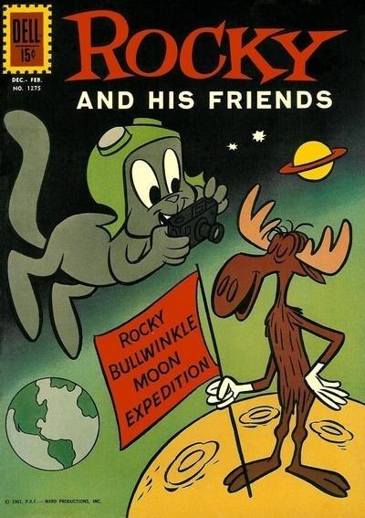 """11.abr.2014 - Um esquilo voador e um alce também chegaram no espaço antes do homem! Isso aconteceu em 1959, na série americana """"The Rocky and Bullwinkle Show"""""""